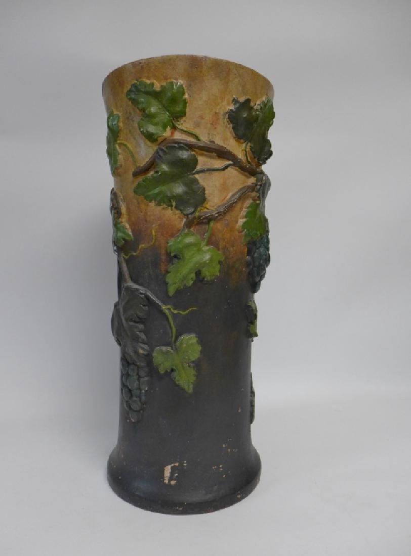 Vintage Terracotta Grape Leaf Floor Vase - 8