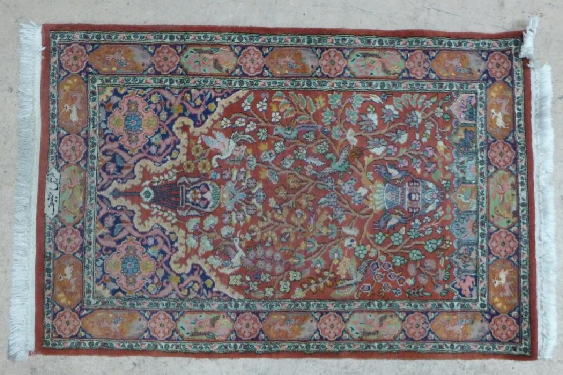 Signed Wool Pictorial Tabriz Rug