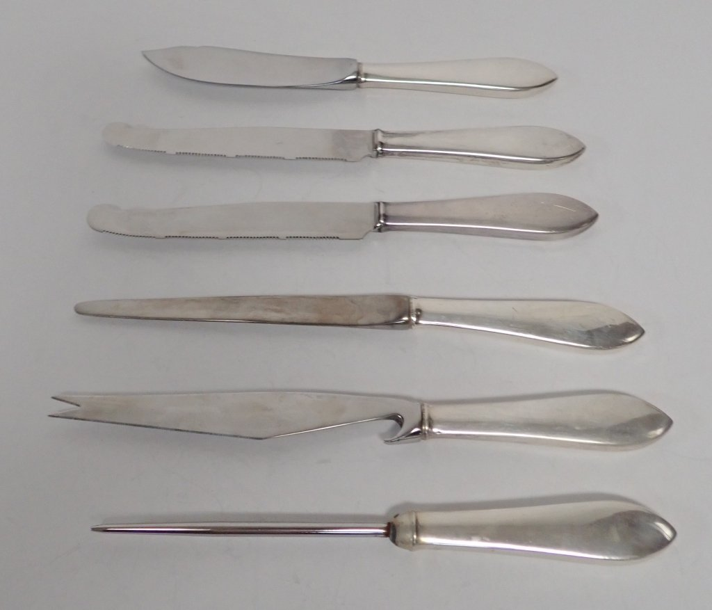Tiffany Sterling Serving Knives, 5 pc