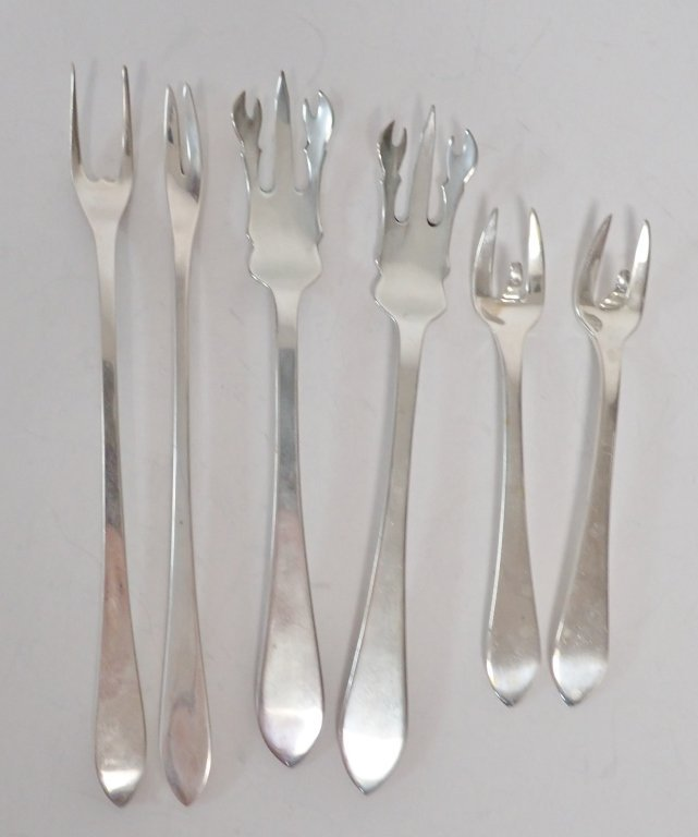 Six Assorted Tiffany Sterling Serving Forks