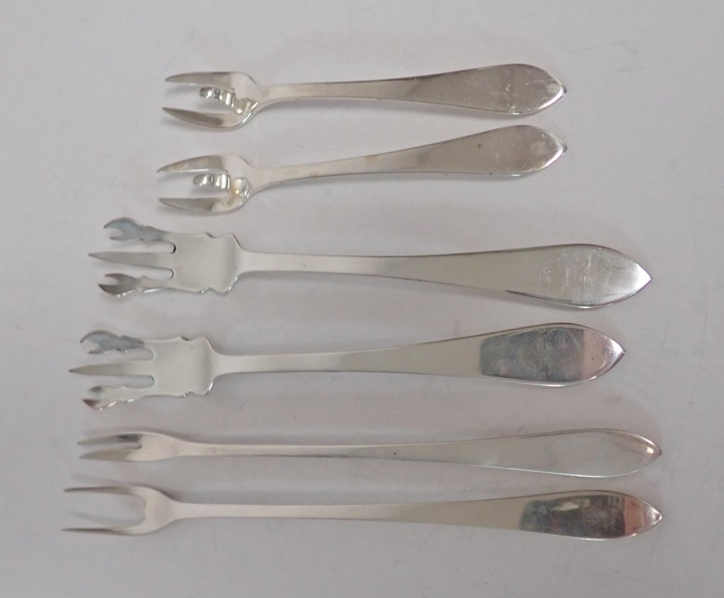 Six Assorted Tiffany Sterling Serving Forks - 2