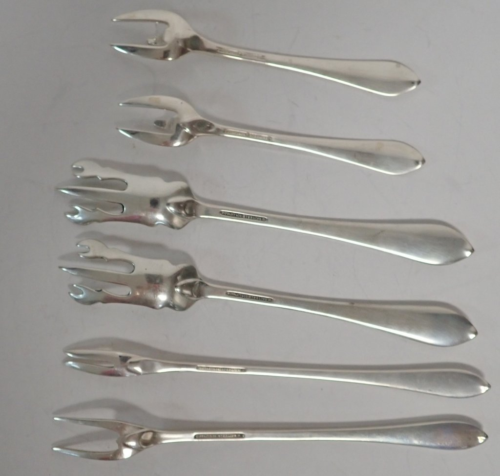 Six Assorted Tiffany Sterling Serving Forks - 4