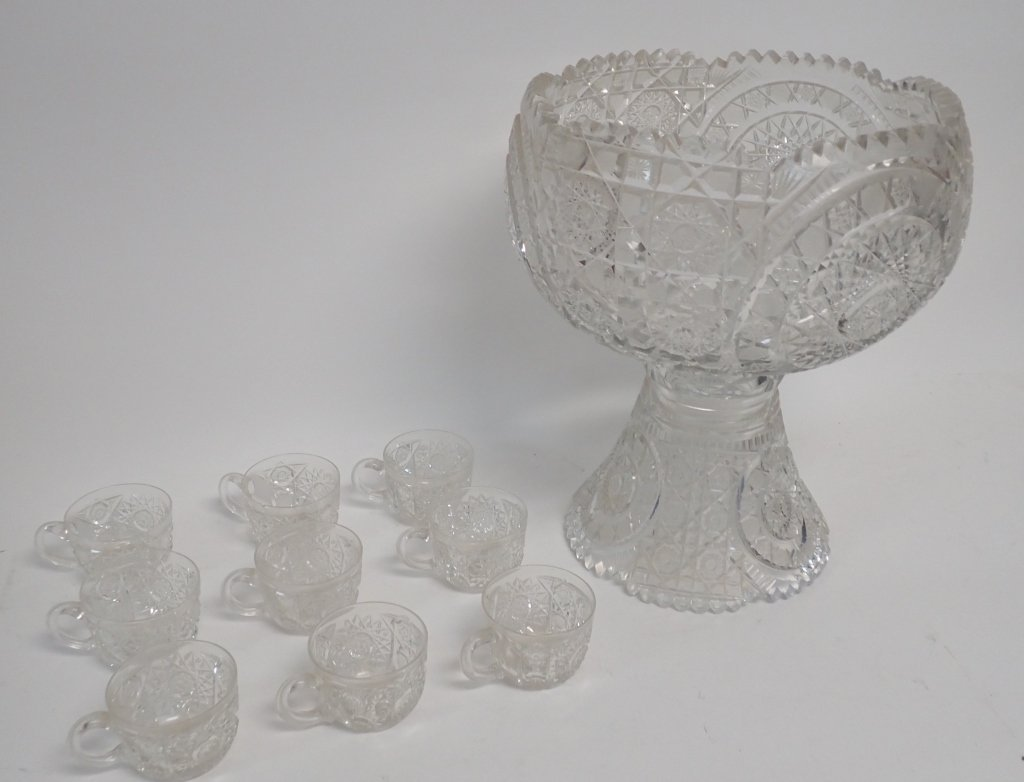 Cut Crystal Punch Bowl On Stand