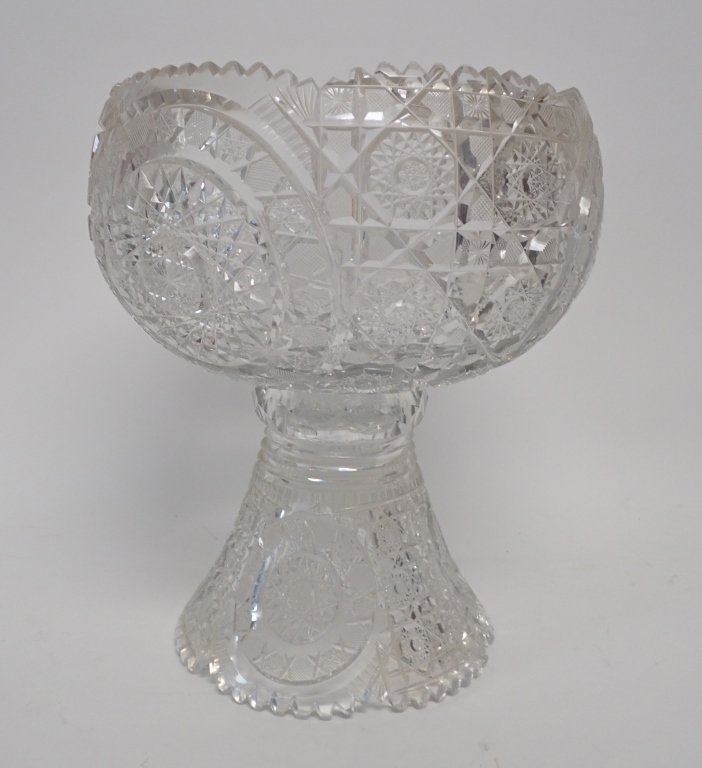 Cut Crystal Punch Bowl On Stand - 2