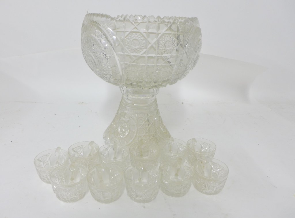 Cut Crystal Punch Bowl On Stand - 3