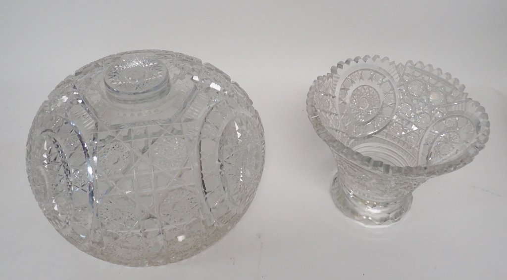 Cut Crystal Punch Bowl On Stand - 8
