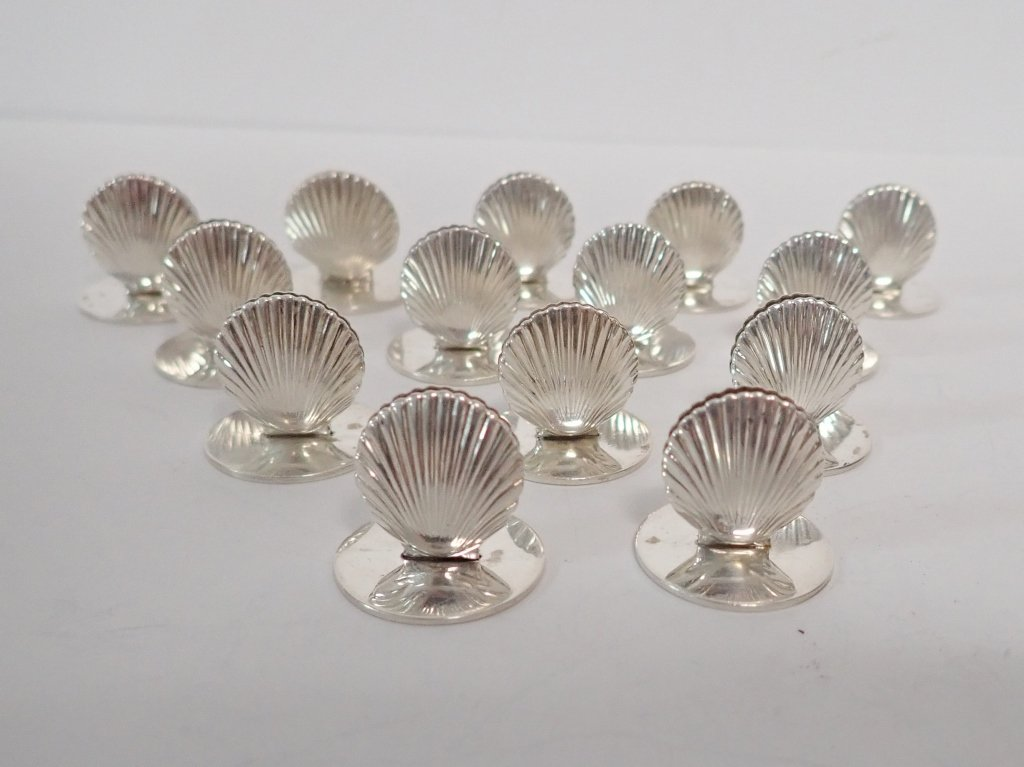 Set of Tiffany Sterling Shell Place Card Holders