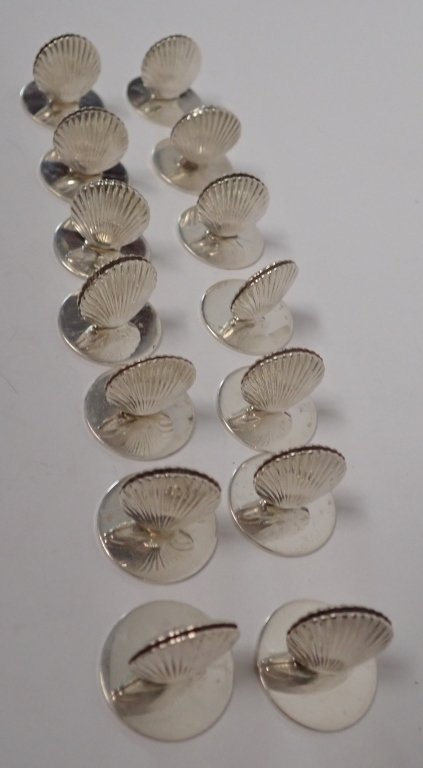 Set of Tiffany Sterling Shell Place Card Holders - 4