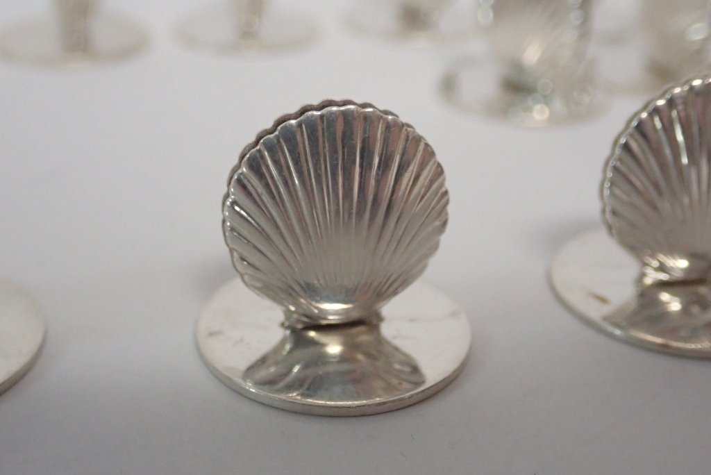 Set of Tiffany Sterling Shell Place Card Holders - 5