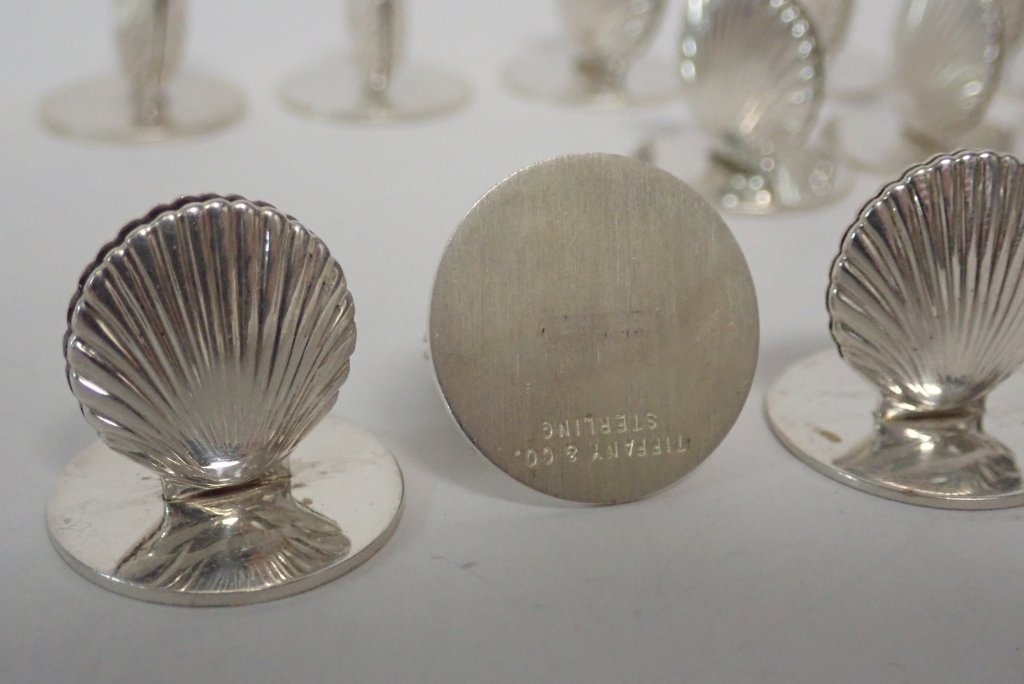 Set of Tiffany Sterling Shell Place Card Holders - 6