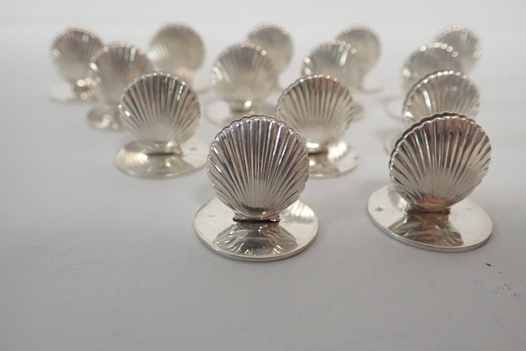 Set of Tiffany Sterling Shell Place Card Holders - 9