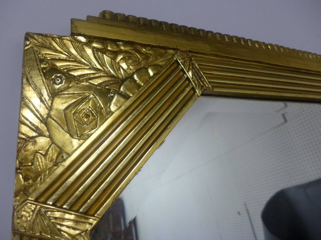 Art Deco Gilt Beveled Mirror - 8