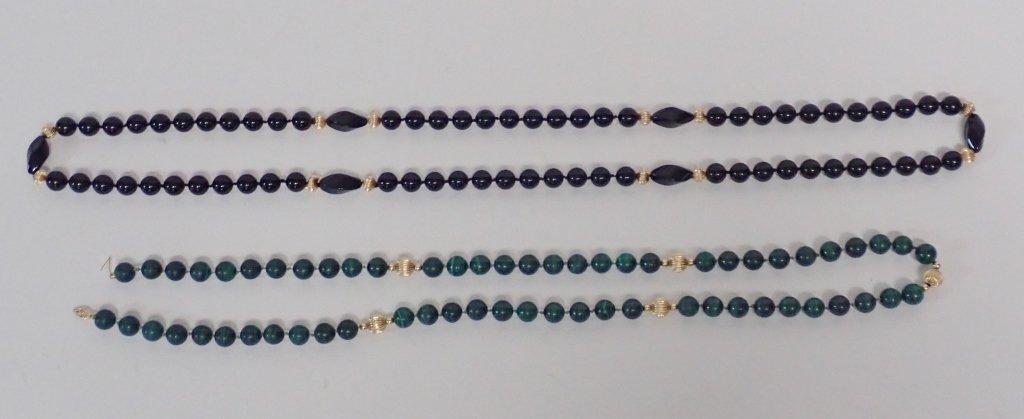Malachite, Onyx & Gold Bead Necklaces - 2
