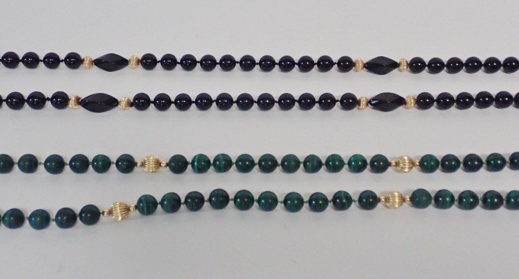 Malachite, Onyx & Gold Bead Necklaces - 3