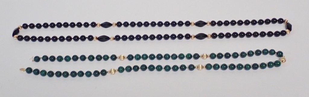 Malachite, Onyx & Gold Bead Necklaces - 7