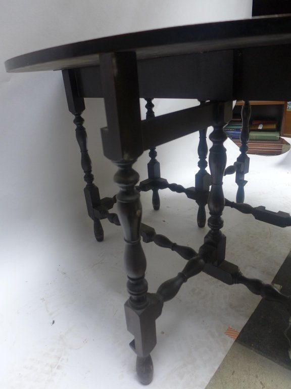 Dark Wood Drop-Leaf Table - 10