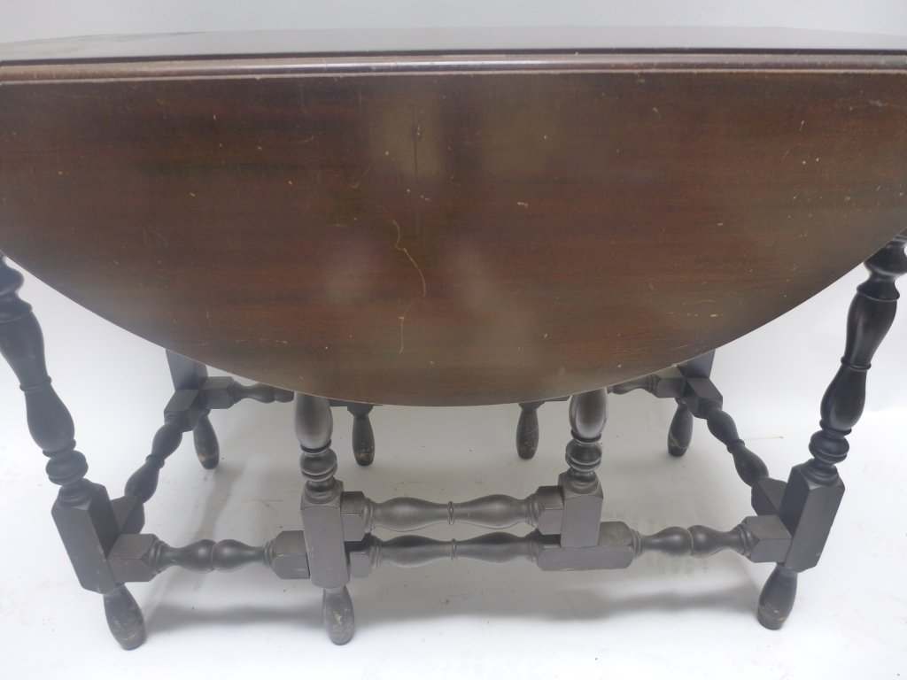 Dark Wood Drop-Leaf Table - 2