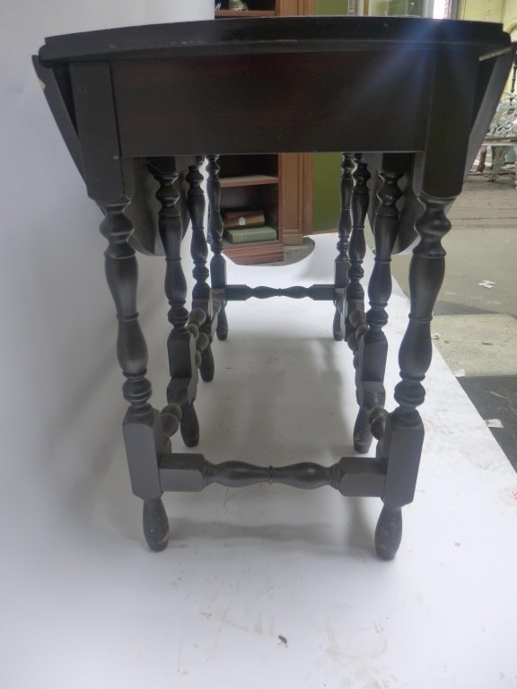 Dark Wood Drop-Leaf Table - 3