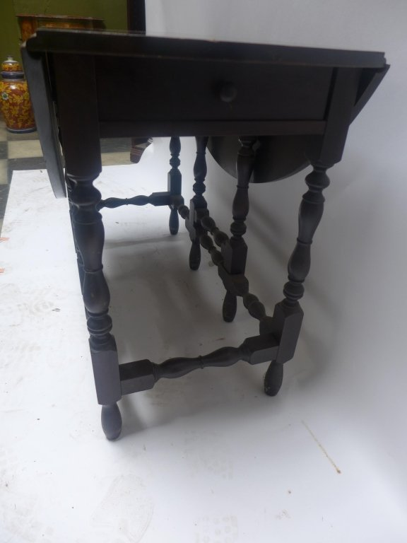 Dark Wood Drop-Leaf Table - 4