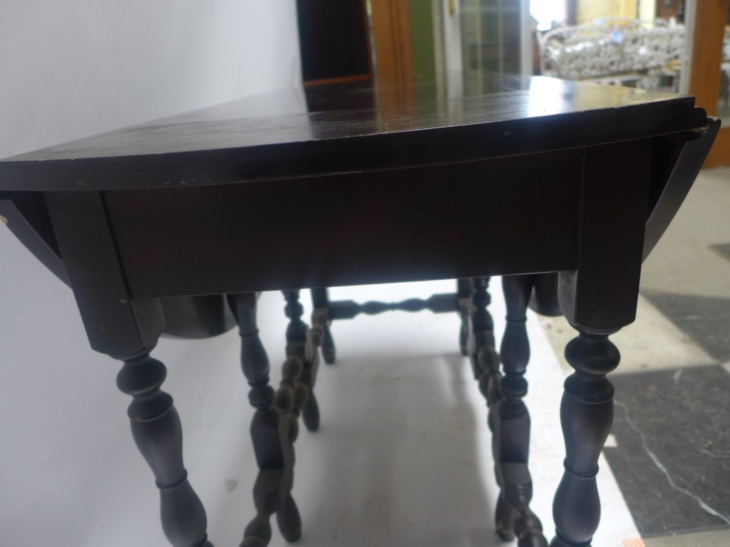 Dark Wood Drop-Leaf Table - 8