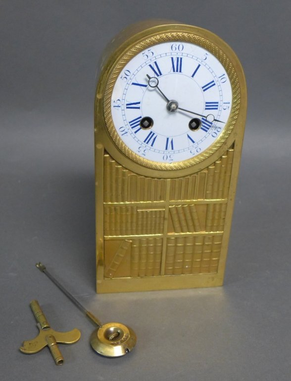 French Empire Bronze Library Form Mantle Clock