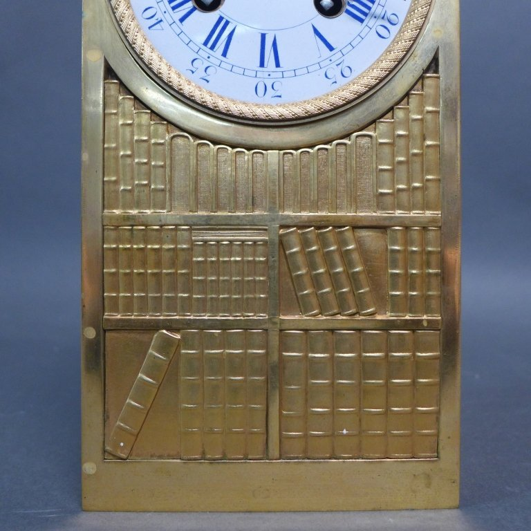 French Empire Bronze Library Form Mantle Clock - 5