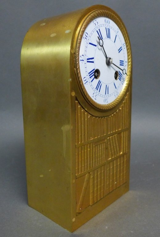 French Empire Bronze Library Form Mantle Clock - 6