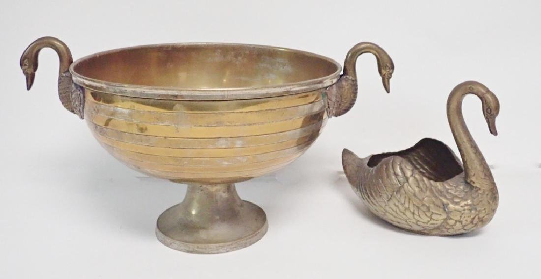 Two Silver Plated Swan Centerpiece Bowls