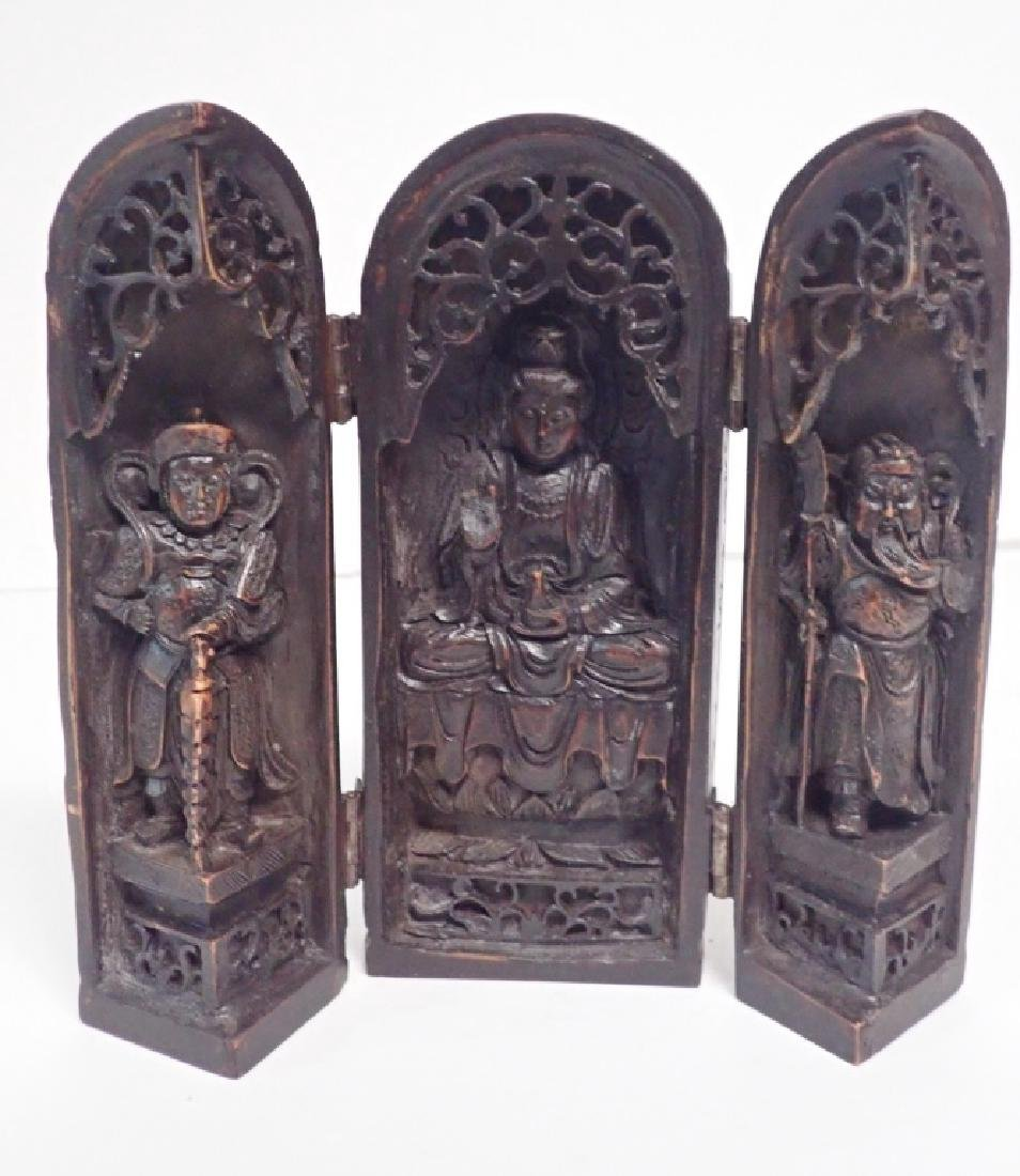 Vintage Wood Carved Asian Shrine Triptych