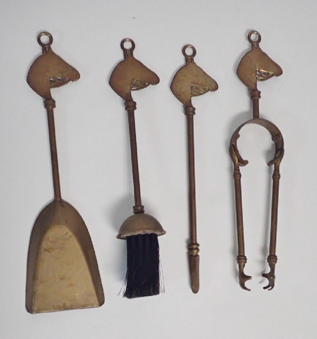 Brass Tabletop Fireplace Tools w/ Horse Head Motif - 4