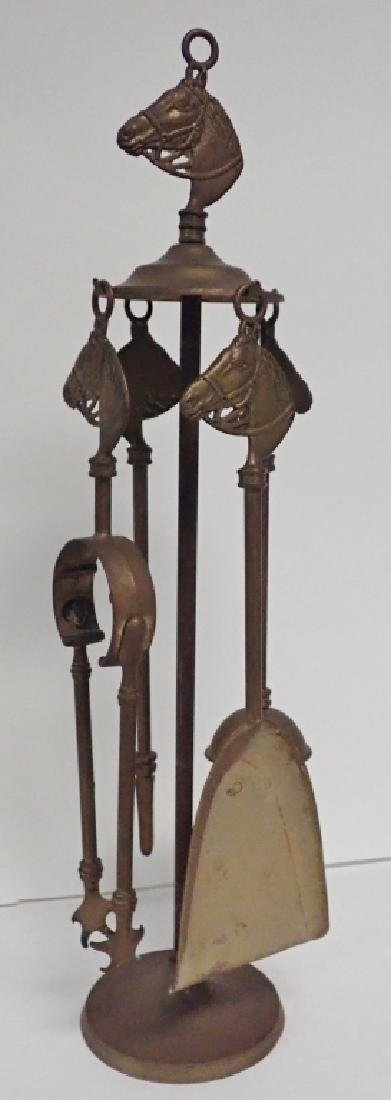 Brass Tabletop Fireplace Tools w/ Horse Head Motif - 8