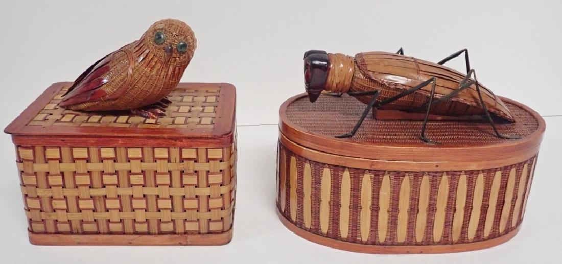 Vintage Shanghai Handicrafts Baskets, Figural Lids