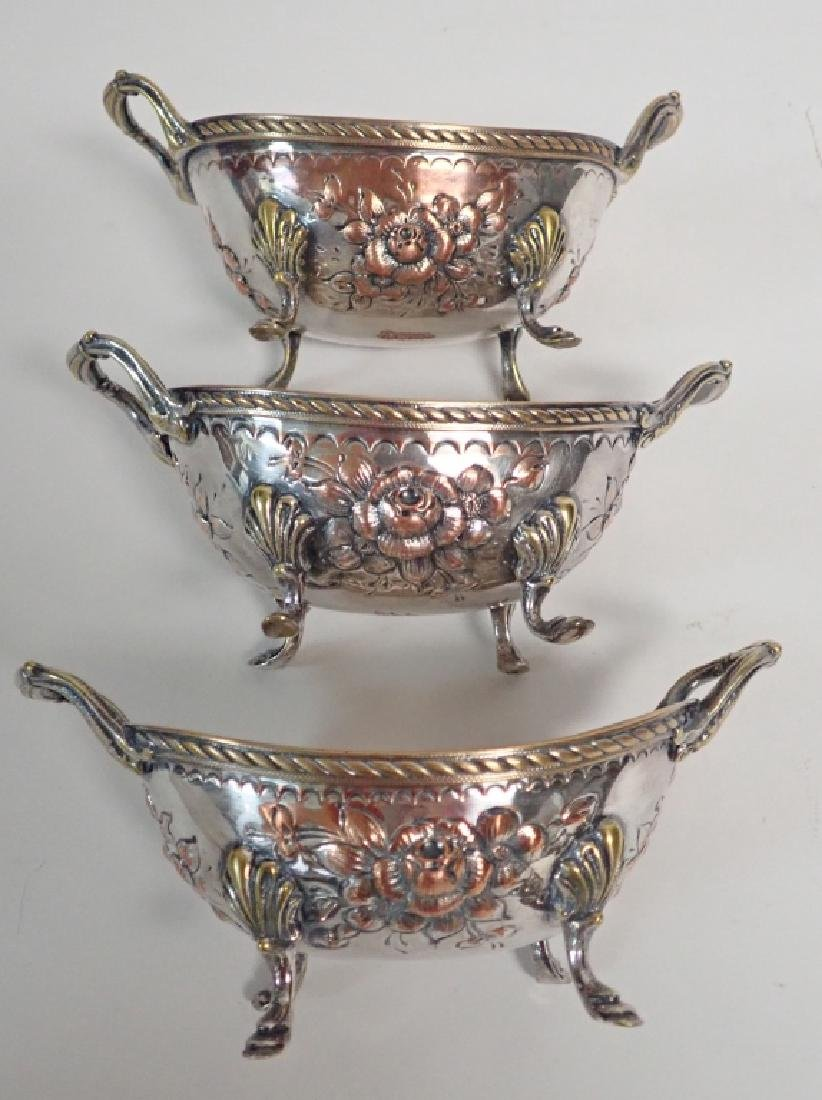 Antique 19C Silver Plate Footed Oval Serving Bowls