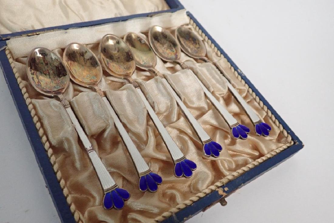 Set of Six Danish Enameled Sterling Silver Spoons - 3