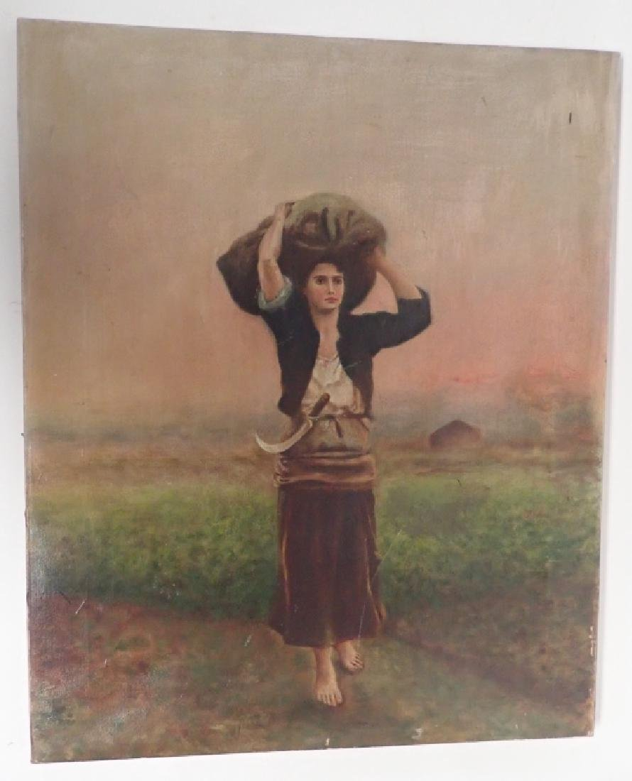 Unsigned Oil Painting of Farm Girl