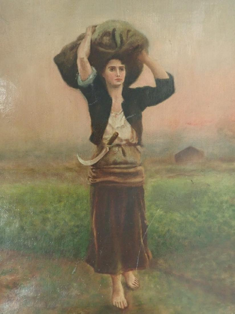 Unsigned Oil Painting of Farm Girl - 2