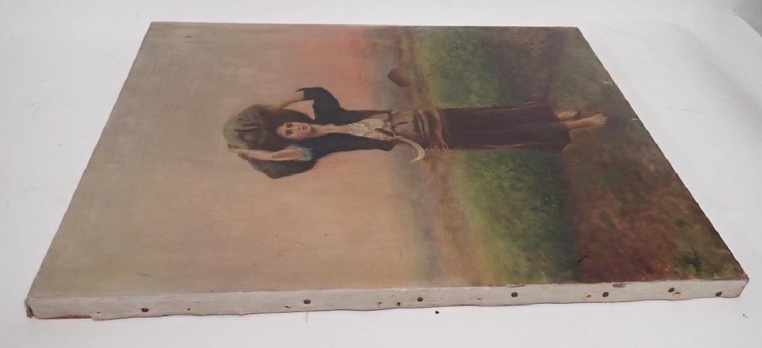 Unsigned Oil Painting of Farm Girl - 3