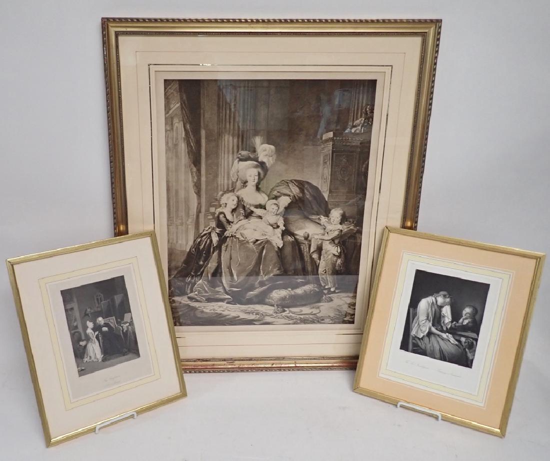 Framed Vintage Engraving Trio
