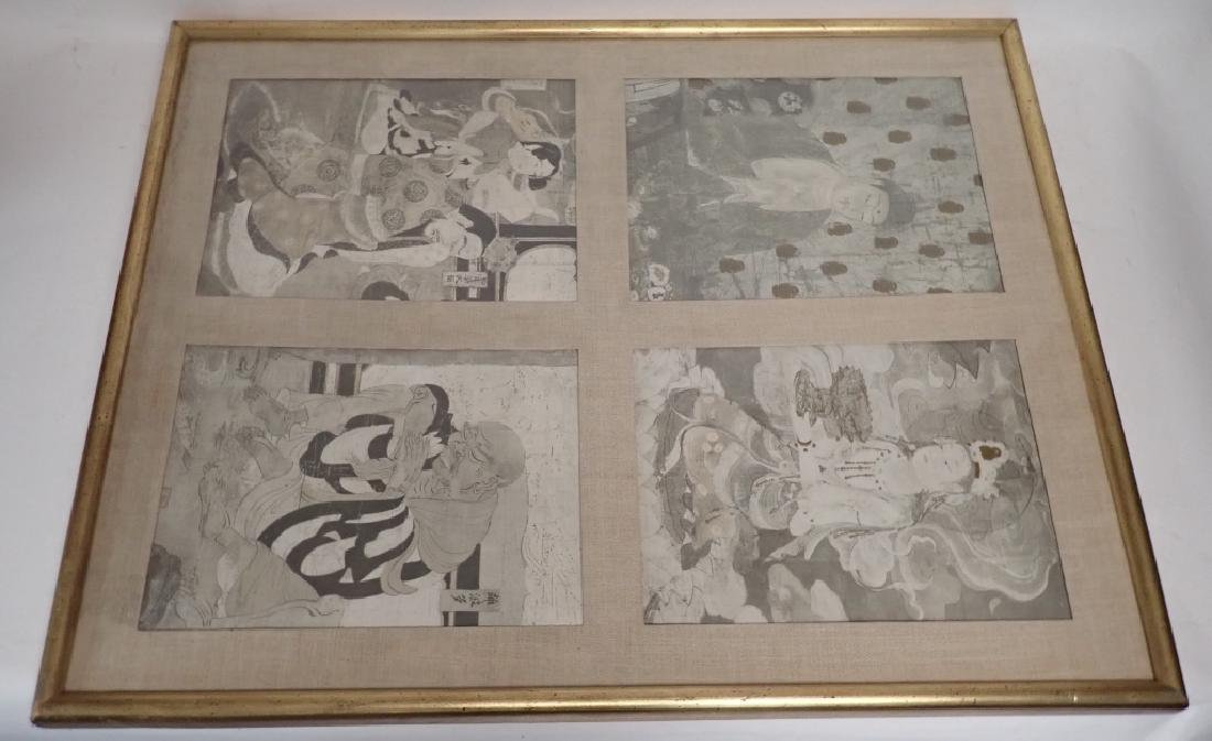 Four Matted Asian Prayer Prints in one Frame - 2