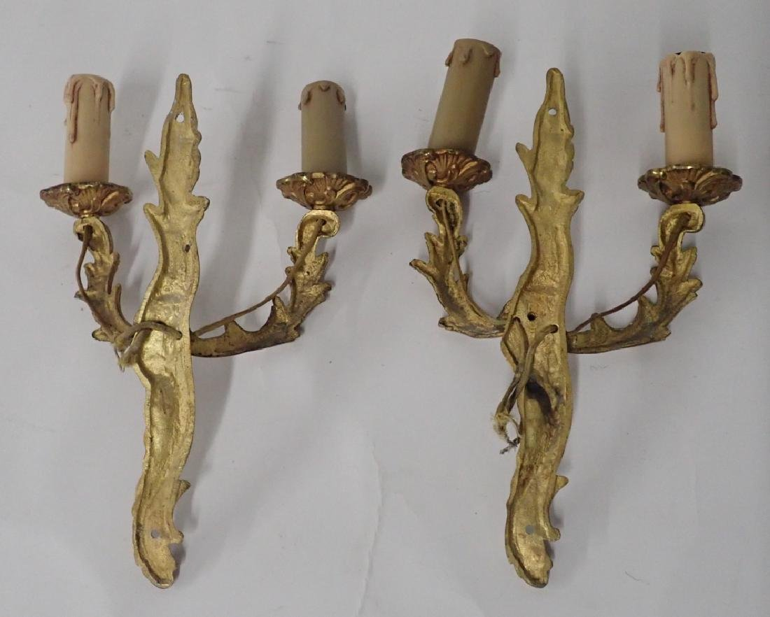 Vintage Bronze Wall Sconce Pair - 3