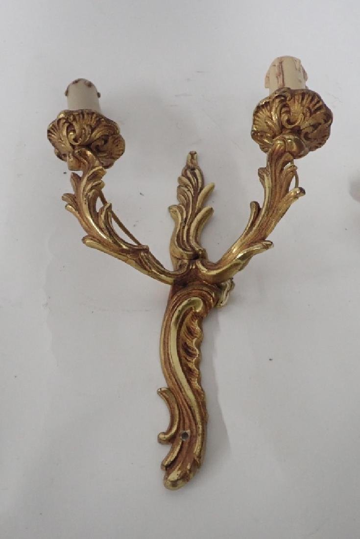 Vintage Bronze Wall Sconce Pair - 9