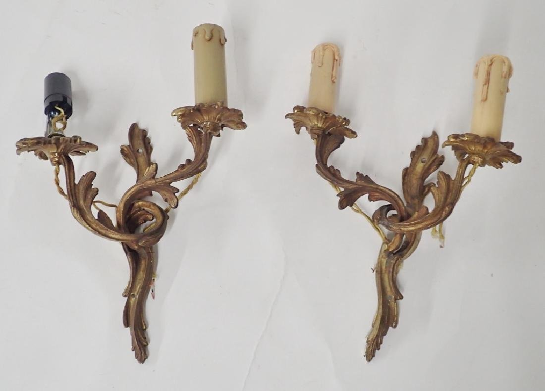 Vintage Pair Louis XV Style Bronze Wall Sconces