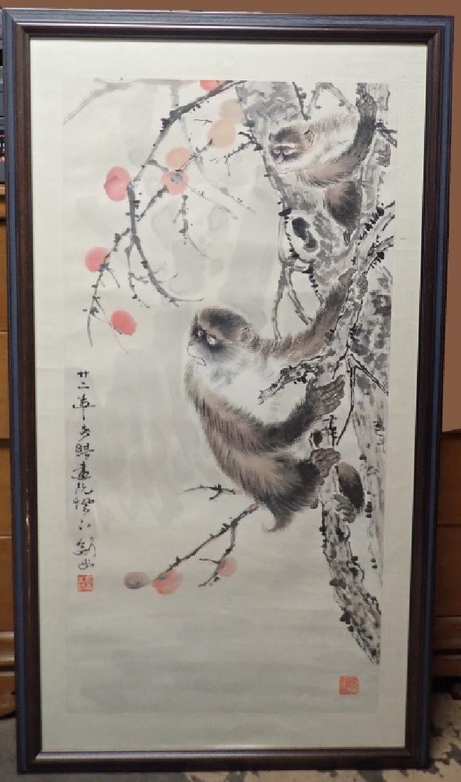 Chinese Watercolor Scroll Painting of Monkeys