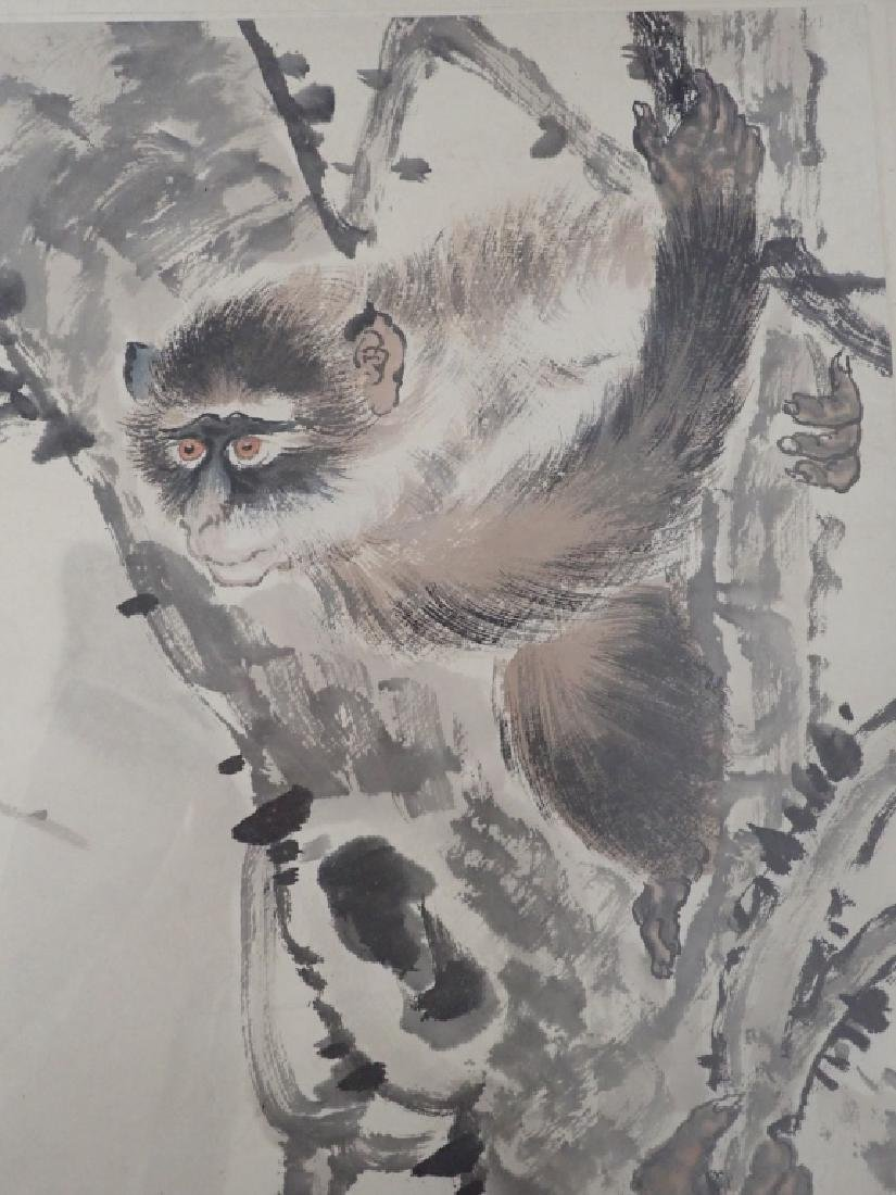 Chinese Watercolor Scroll Painting of Monkeys - 2