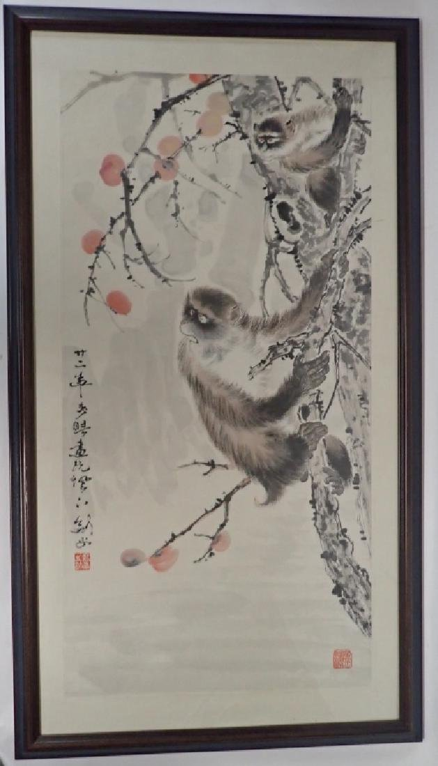 Chinese Watercolor Scroll Painting of Monkeys - 9