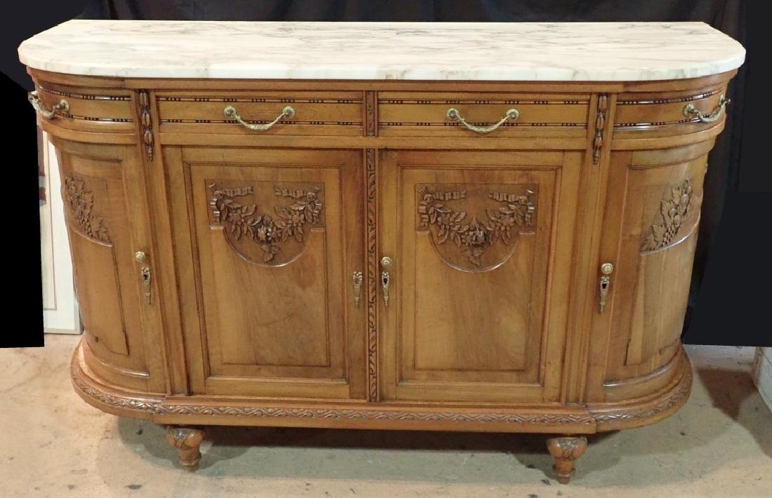 Marble Top Louis XVI Style Walnut Sideboard