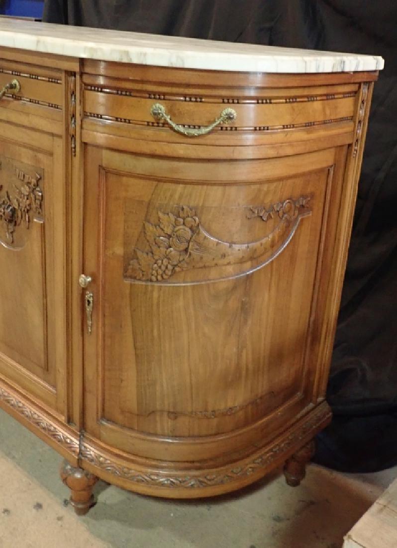 Marble Top Louis XVI Style Walnut Sideboard - 3