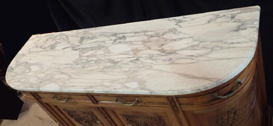 Marble Top Louis XVI Style Walnut Sideboard - 4