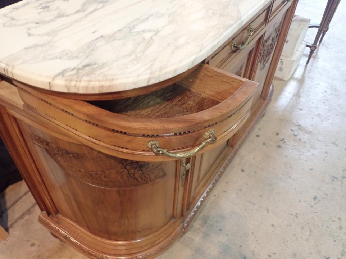 Marble Top Louis XVI Style Walnut Sideboard - 5