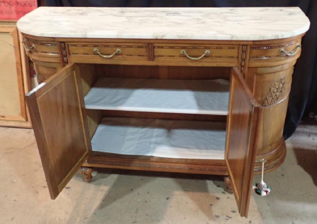 Marble Top Louis XVI Style Walnut Sideboard - 6